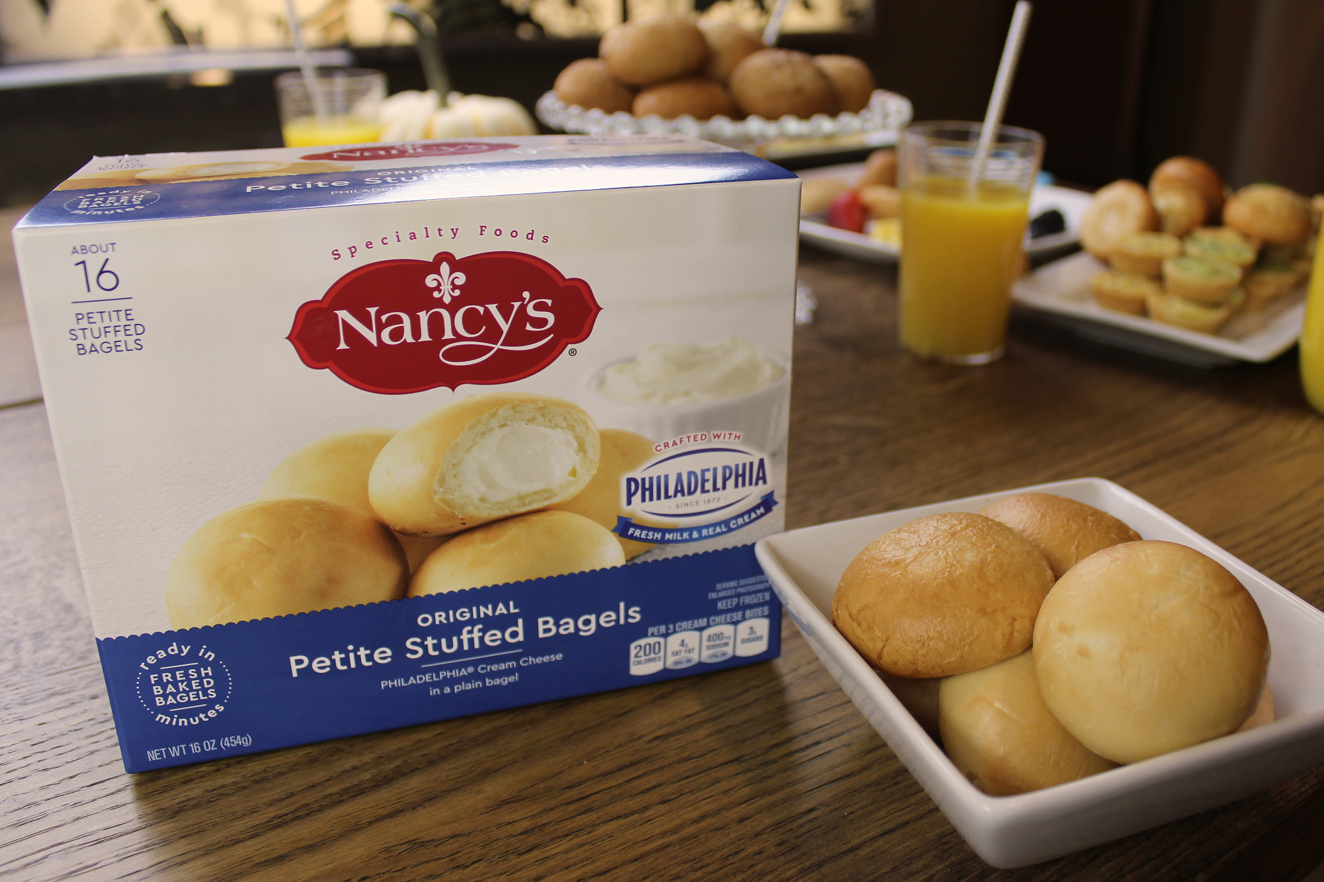 Keep it classic with Nancy's Petite Stuffed Original Bagels made with PHILADELPHIA Cream Cheese in a plain bagel