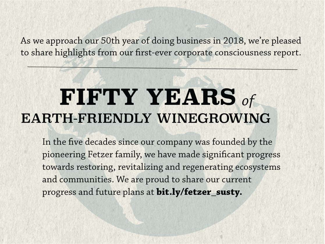 Fetzer Vineyards will celebrate 50 years of Earth-friendly winegrowing in 2018