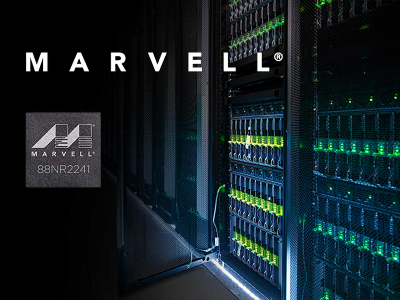 The Marvell 88NR2241 intelligent NVMe switch allows data centers to aggregate and manage resources between multiple NVMe SSD controllers and workload-offload accelerators.