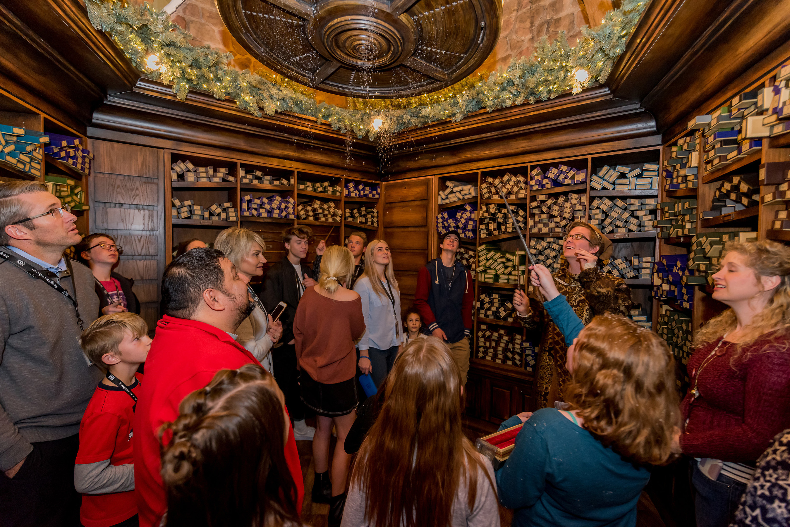 Guests at Christmas in the Wizarding World can visit wand shop Ollivanders™ to enjoy a holiday surprise and select from a wide array of character wands.