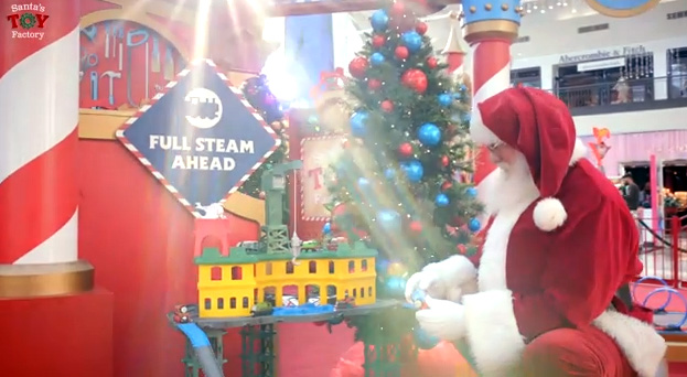 "Children and parents experience the magic of the season at Santa's Toy Factory--an interactive consumer activation where guests have the opportunity to ""test"" and ""create"" new toys for the holiday season!"