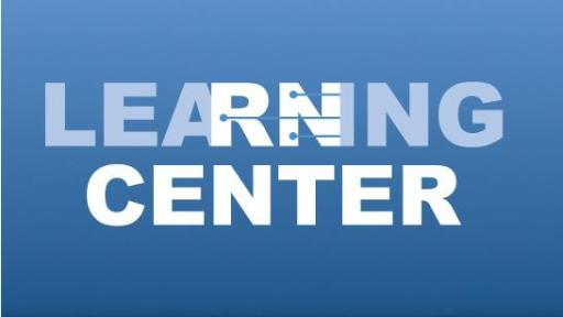 A blue graphic that says Learning Center.