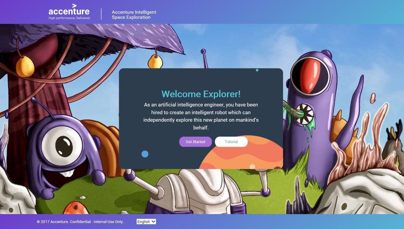 Accenture builds a coding tutorial that features a robot using artificial intelligence to explore a new planet.
