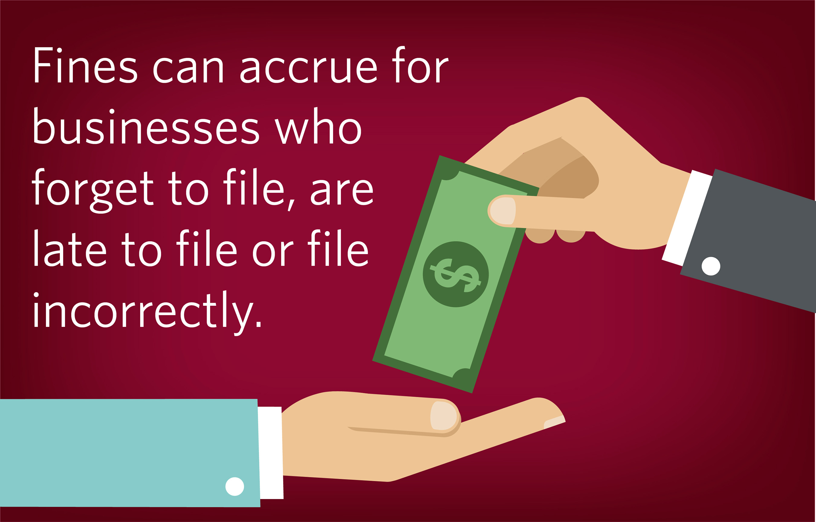 Depending on the form, filers can be penalized up to $500 for failure to file or furnish correct information. Greatland Corporation has a team of compliance experts to ensure your business won't receive fines.