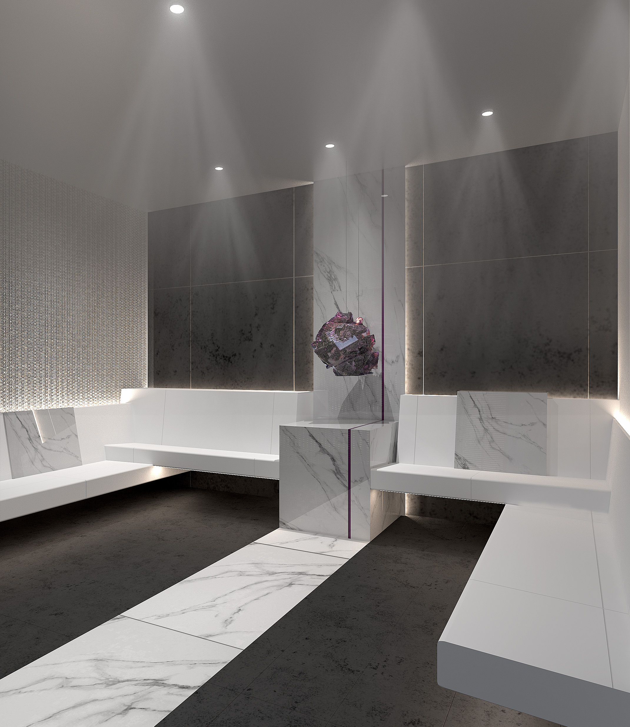 Earth is the element that drives the luminous Crystalarium at The Spa on Celebrity Edge, where a crystal serves as the conduit for natural healing energy, and gentle warmth exudes from the natural stone walls.