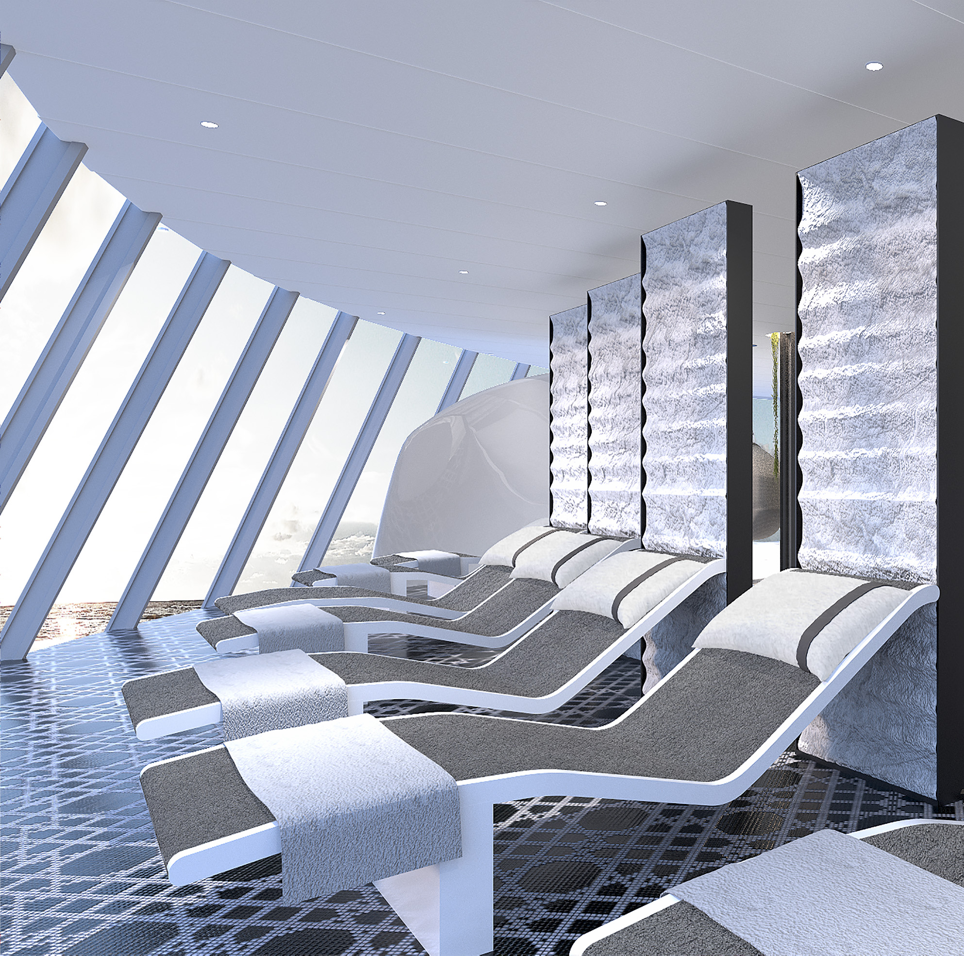 Right next to the floating chairs and offering the same panoramic views are the 11 heated tile loungers, making this space the perfect zen zone to relax after treatments at The Spa on Celebrity Edge.