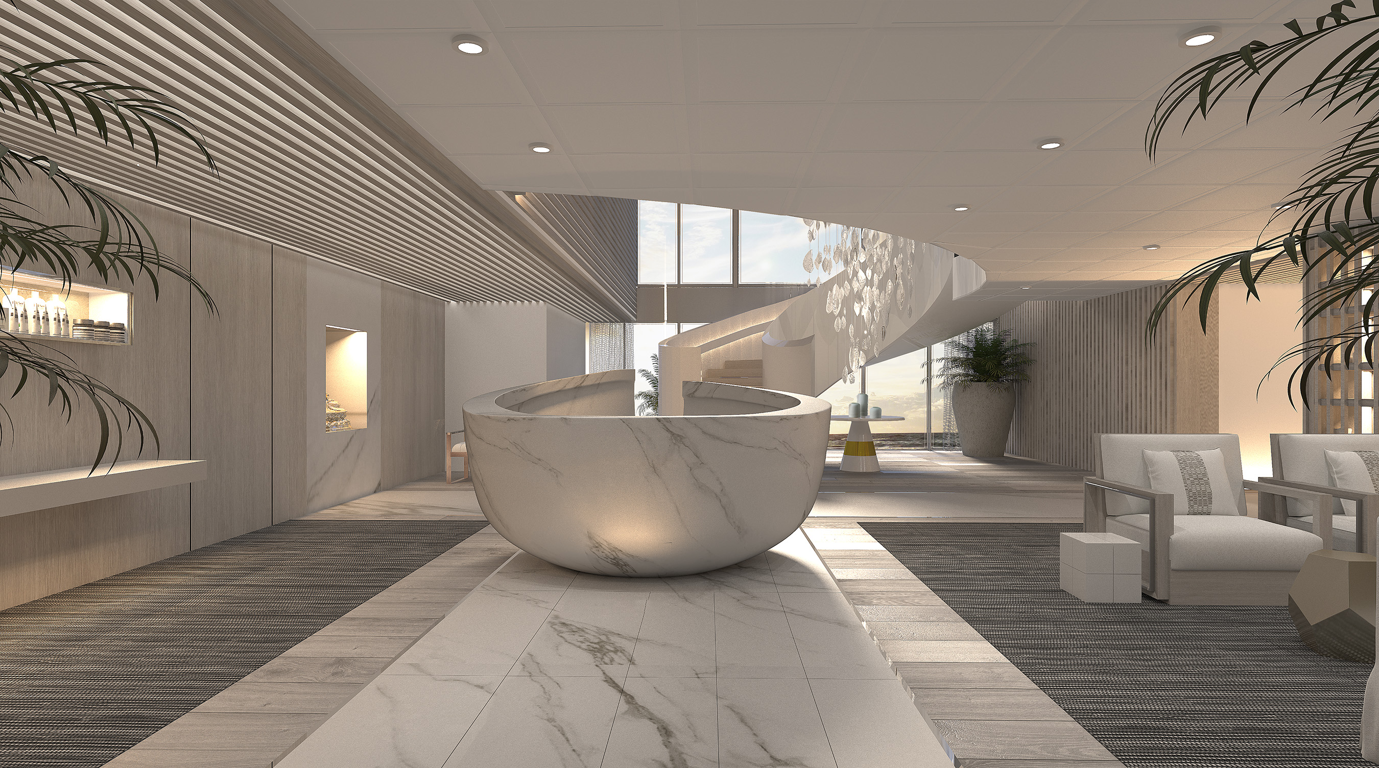 At the entrance of The Spa on Celebrity Edge, guests are greeted by an imposing and dramatic, yet Zen-like sculpture acting as a reception desk and bespoke blended essences, welcoming a sense of calm.