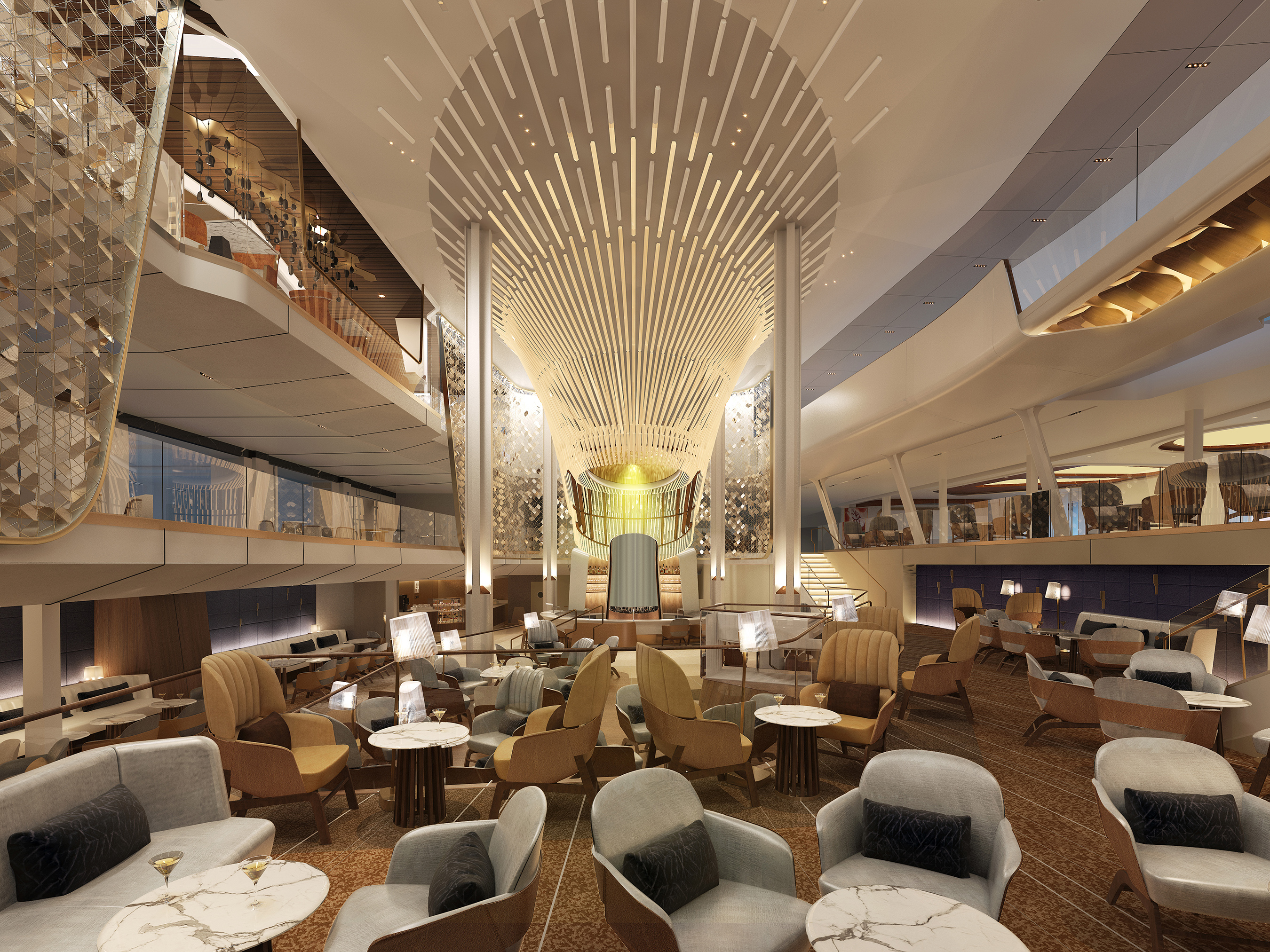 Spanning three decks at the heart of the ship, The Grand Plaza acts as the epicenter of Celebrity Edge, which radiates an energy that lures guests throughout the day, as it transforms both physically and atmospherically. Here, guests will be transported to the lively piazzas of Italy, of which this sprawling 5,167 sq. ft. space was also inspired. The Grand Plaza is home to many of the incredible new specialty restaurants.
