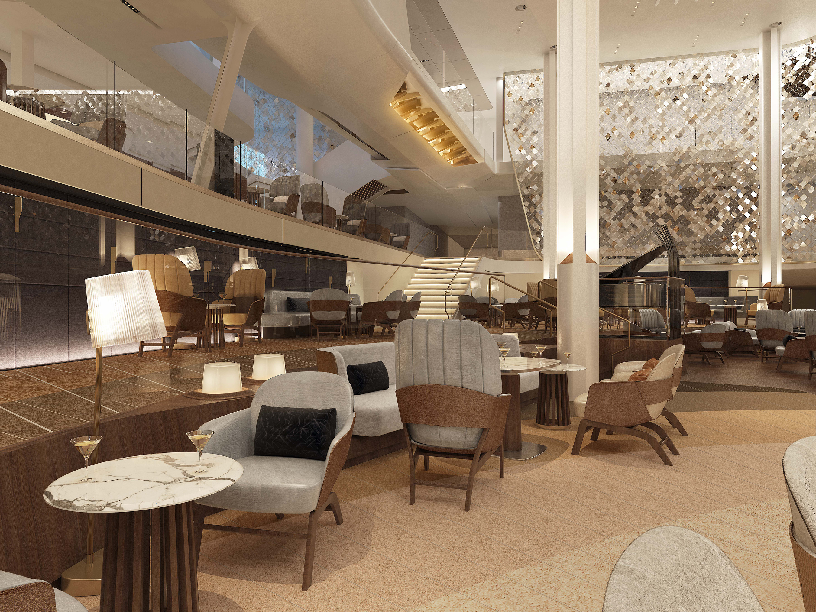 In the morning, The Grand Plaza on Celebrity Edge invites guests to enjoy a cappuccino and a croissant at either of the cafés. Guests can return to The Grand Plaza for afternoon tea or to indulge in a pre-dinner cocktail while enjoying unexpected pop-up performances. At nightfall, the energy transforms completely, and the space becomes the social epicenter of the ship, coming alive with live music.