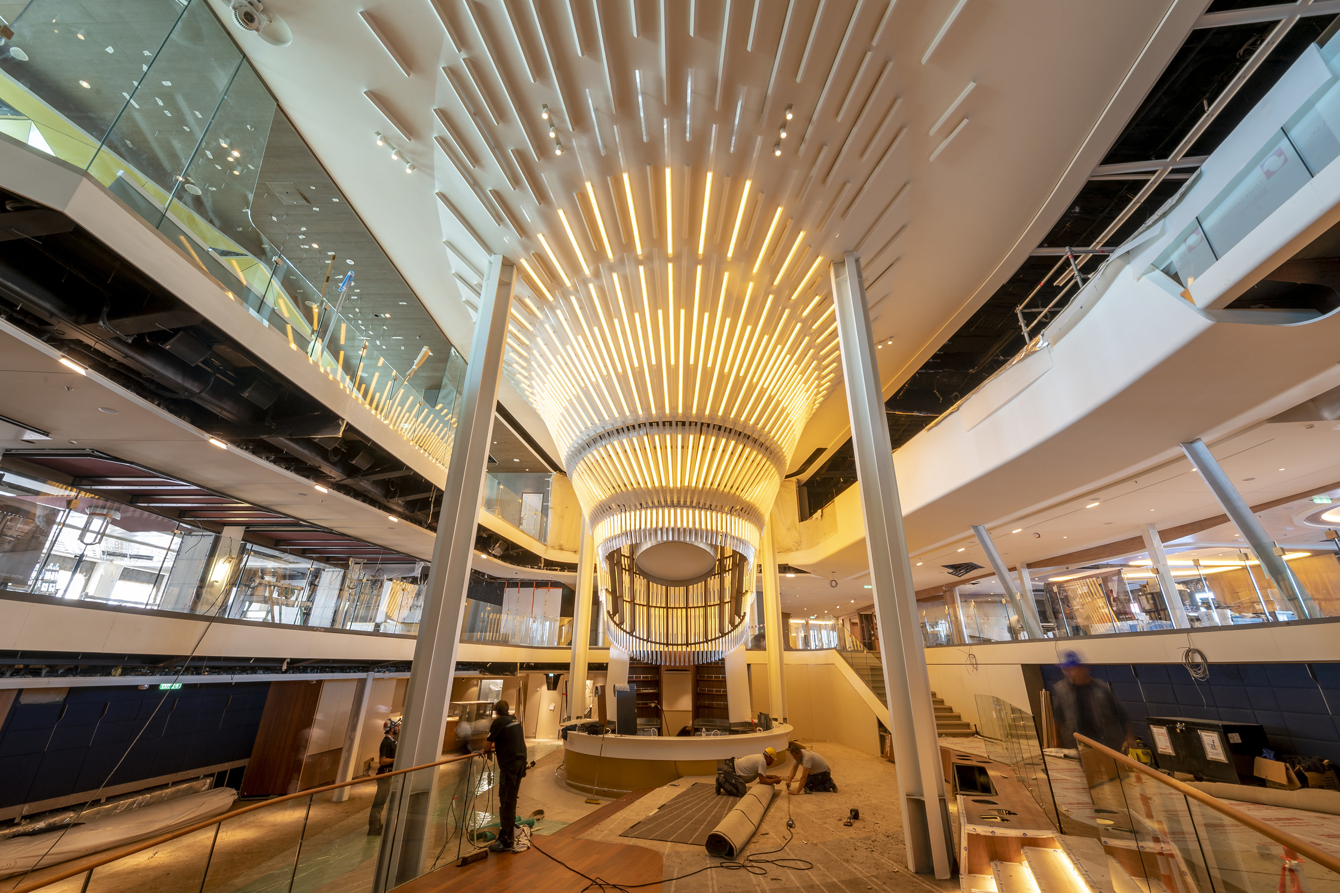 A sneak peek at The Grand Plaza, designed by visionaries Patrick Jouin and Sanjit Manku of Jouin Manku, on Celebrity Edge as of September 13, 2018.