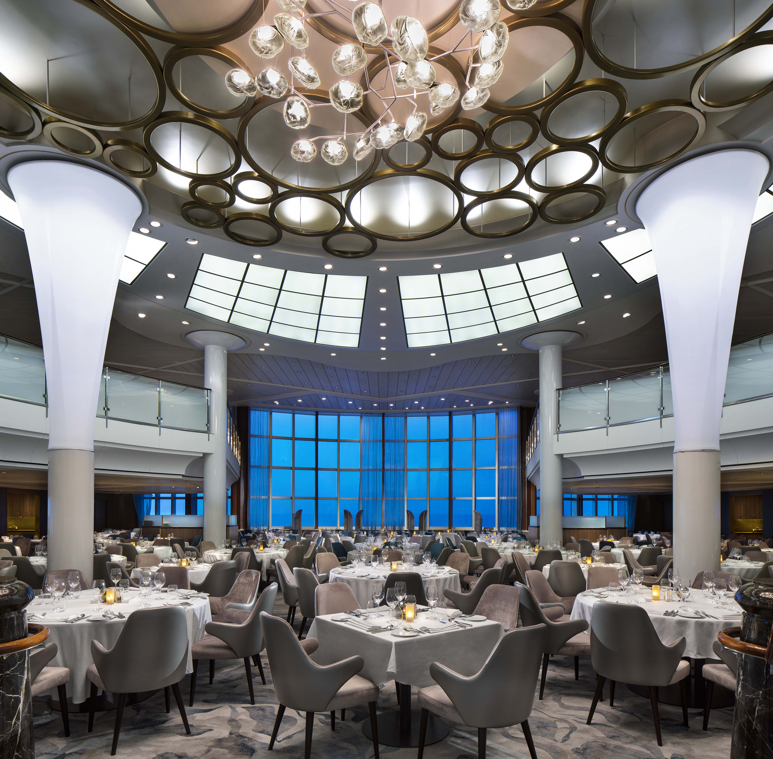 "Celebrity Cruises also collaborated with long-time partner, renowned New York hospitality design firm BG Studio International to ""revolutionize"" the Main Dining Room."