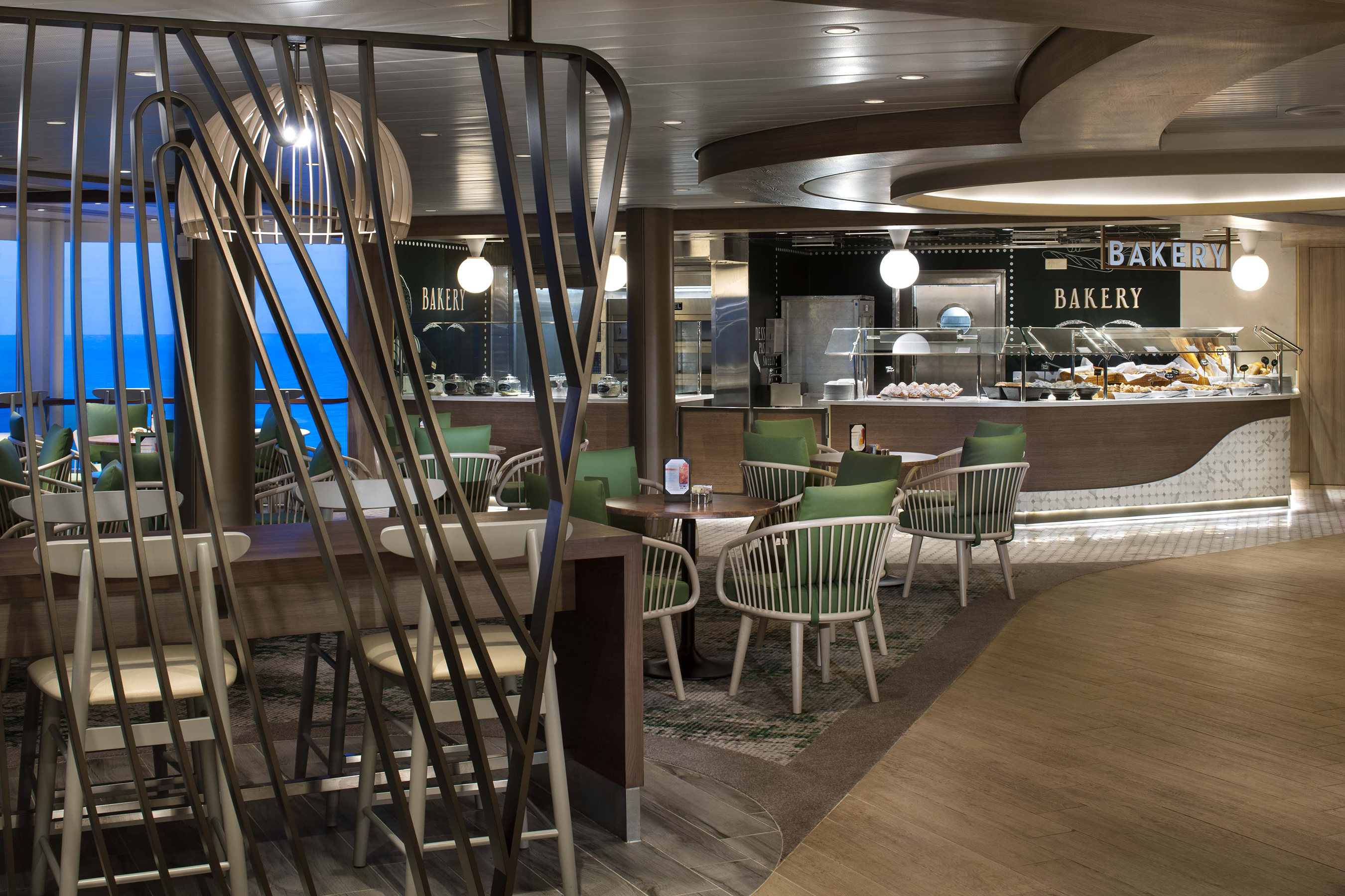 "Celebrity Cruises worked closely with BG Studio International to ""revolutionize"" Oceanview Café and create a comfortable, airy marketplace for guests to enjoy award-winning, globally inspired cuisine."