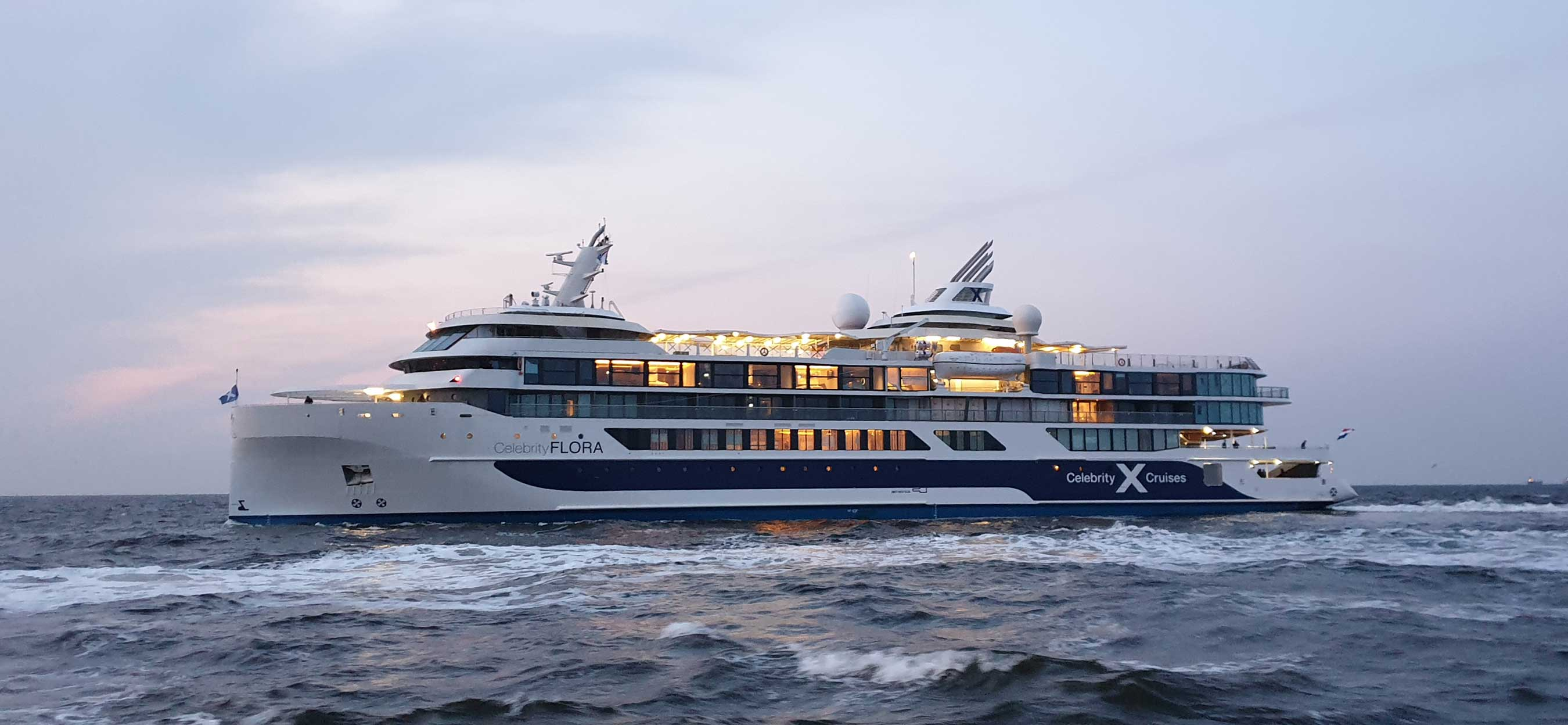 Celebrity Cruises' newest vessel, the 100-guest Celebrity Flora during her first sea trial.