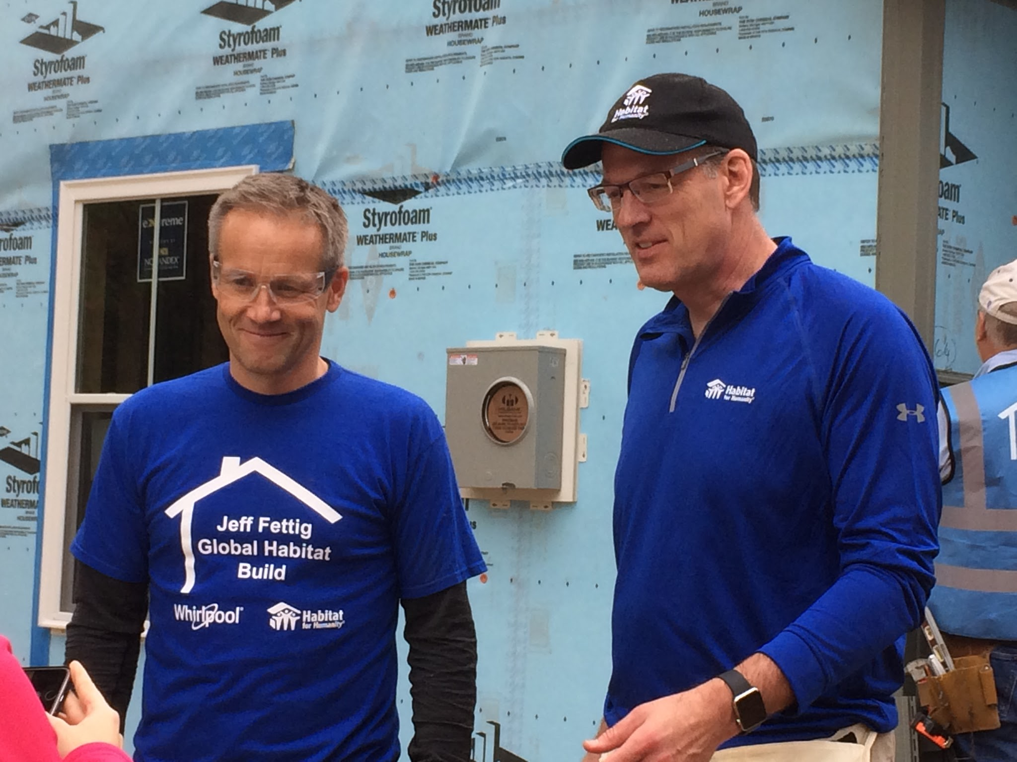 Whirlpool Corporation CEO Marc Bitzer, left, and former CEO Jeff Fettig at a Global Habitat Build building site