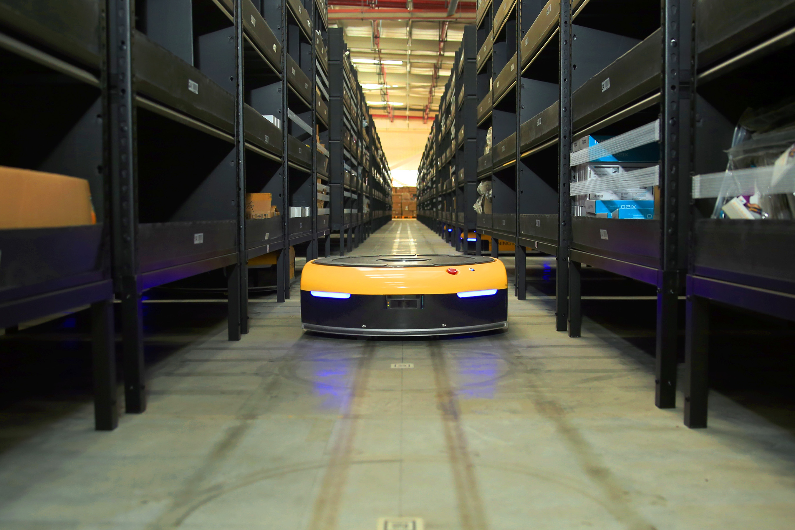 The AGV robots could accurately find each shelf through the guidance system based on QR code identification.