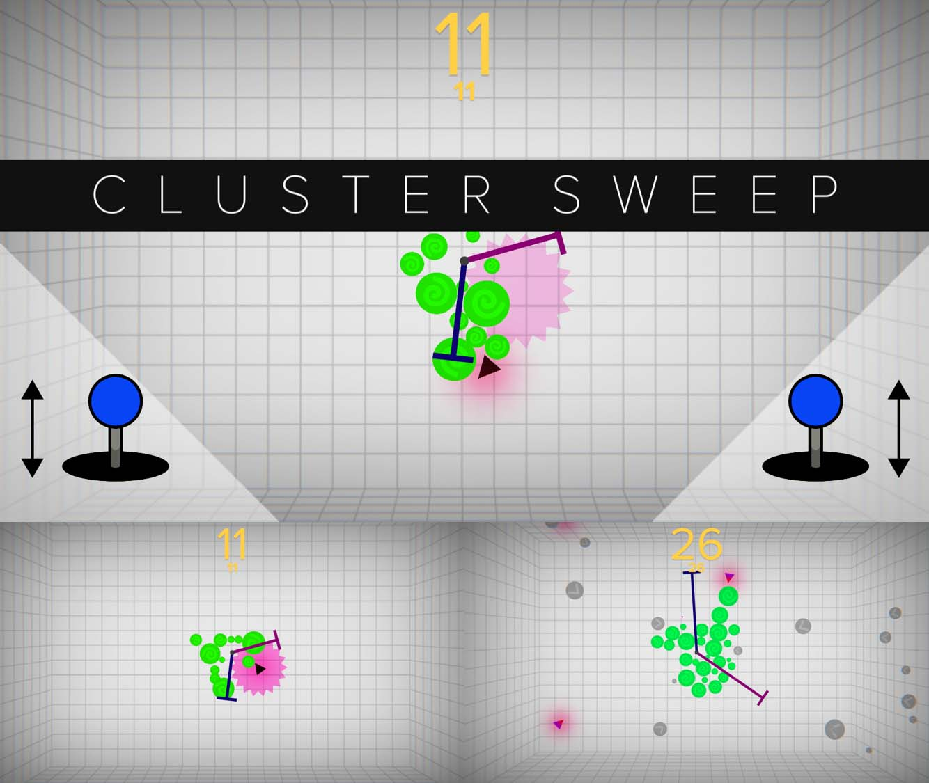 """Come play CLUSTER SWEEP created during """"The Indie Game Jam - Presented by Schick Hydro"""" at The Game Awards' first-ever arcade at the Microsoft Theater in LA on Dec. 7. Download at https://playcrafting.itch.io/ on Dec. 7."""