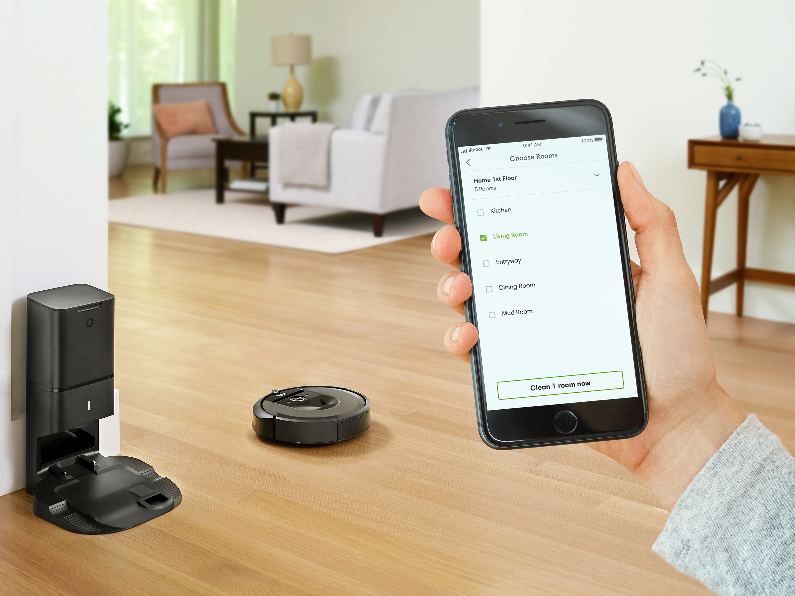 Roomba® i7+ with Imprint™ Smart Mapping gives users control to choose which rooms are cleaned and when.