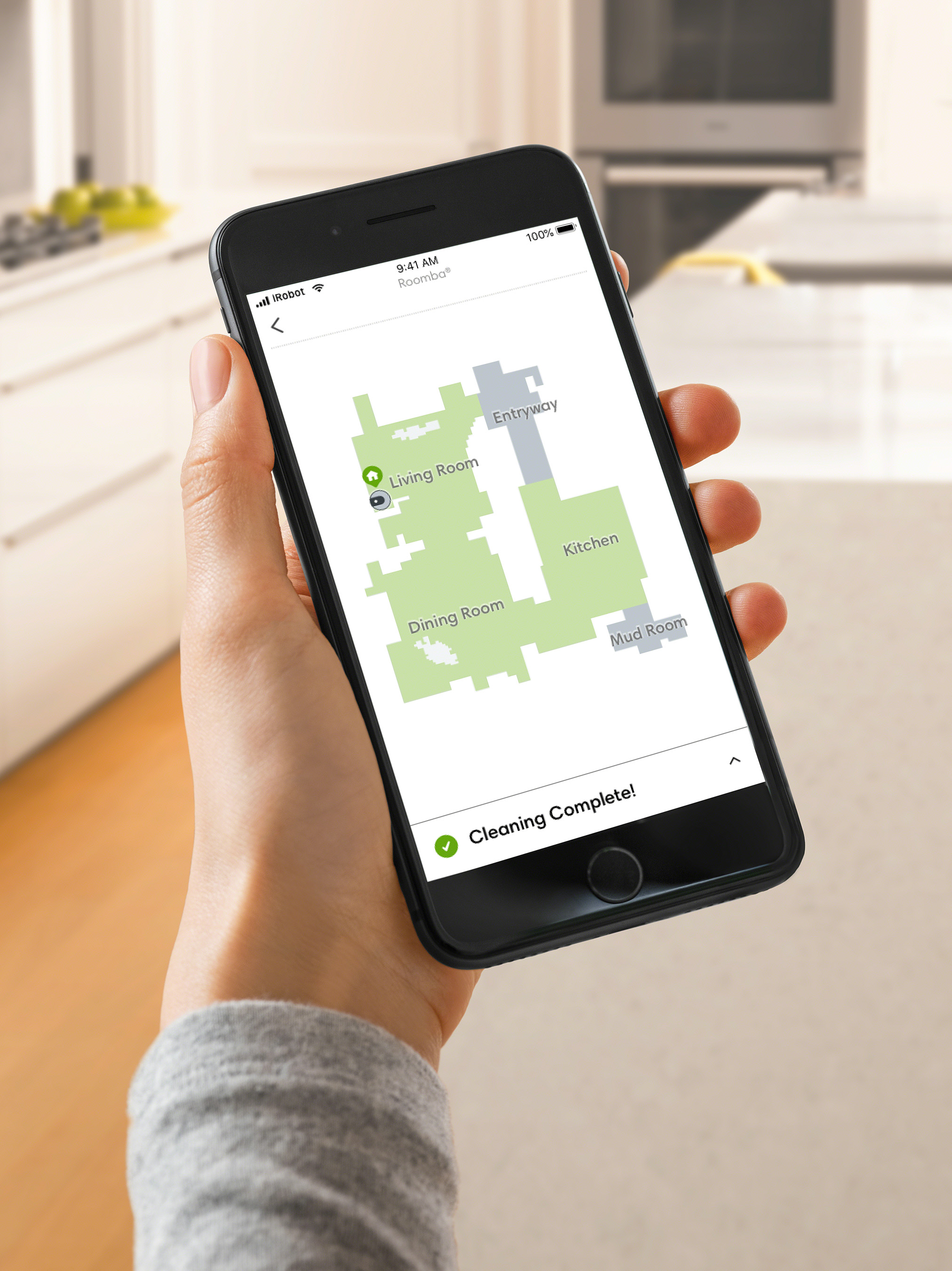 The Roomba® i7+ uses Imprint™ Smart Mapping to learn a home's floor plan.