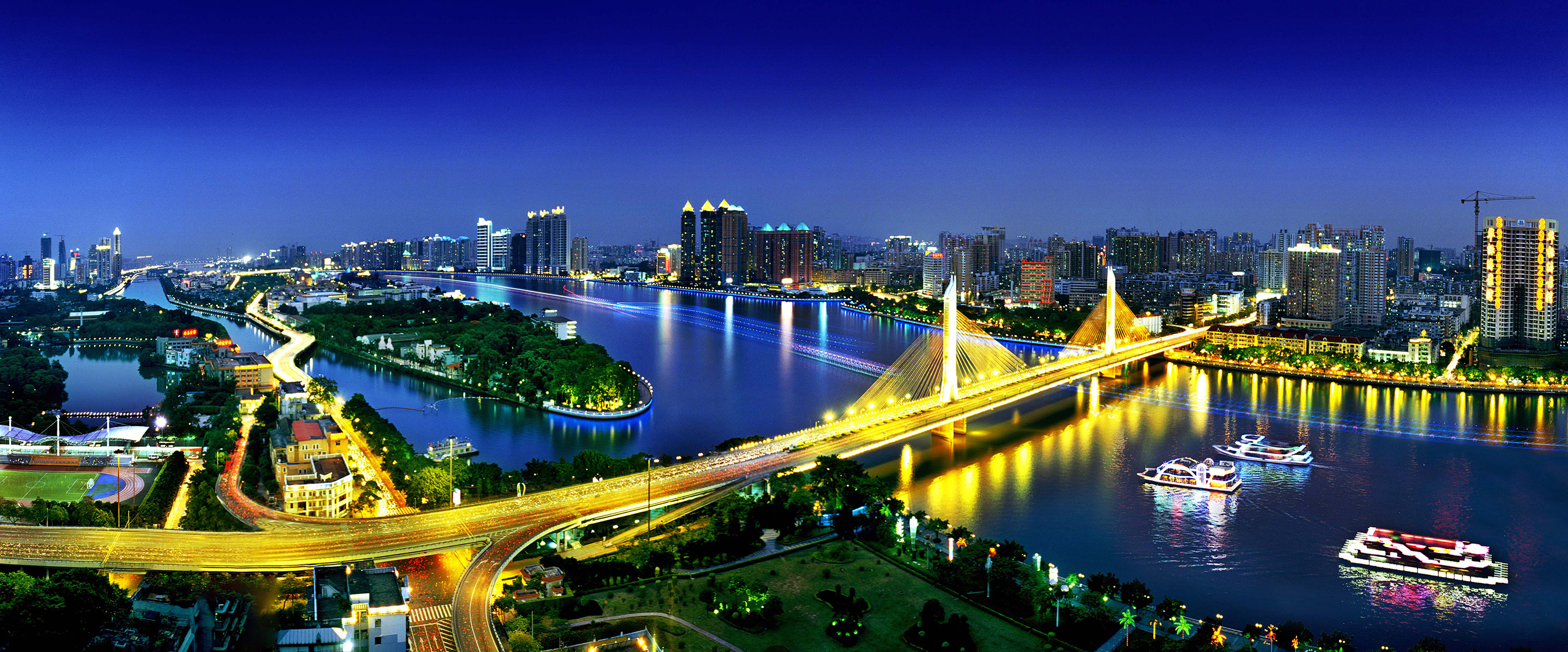 Night view of Guangzhou China.