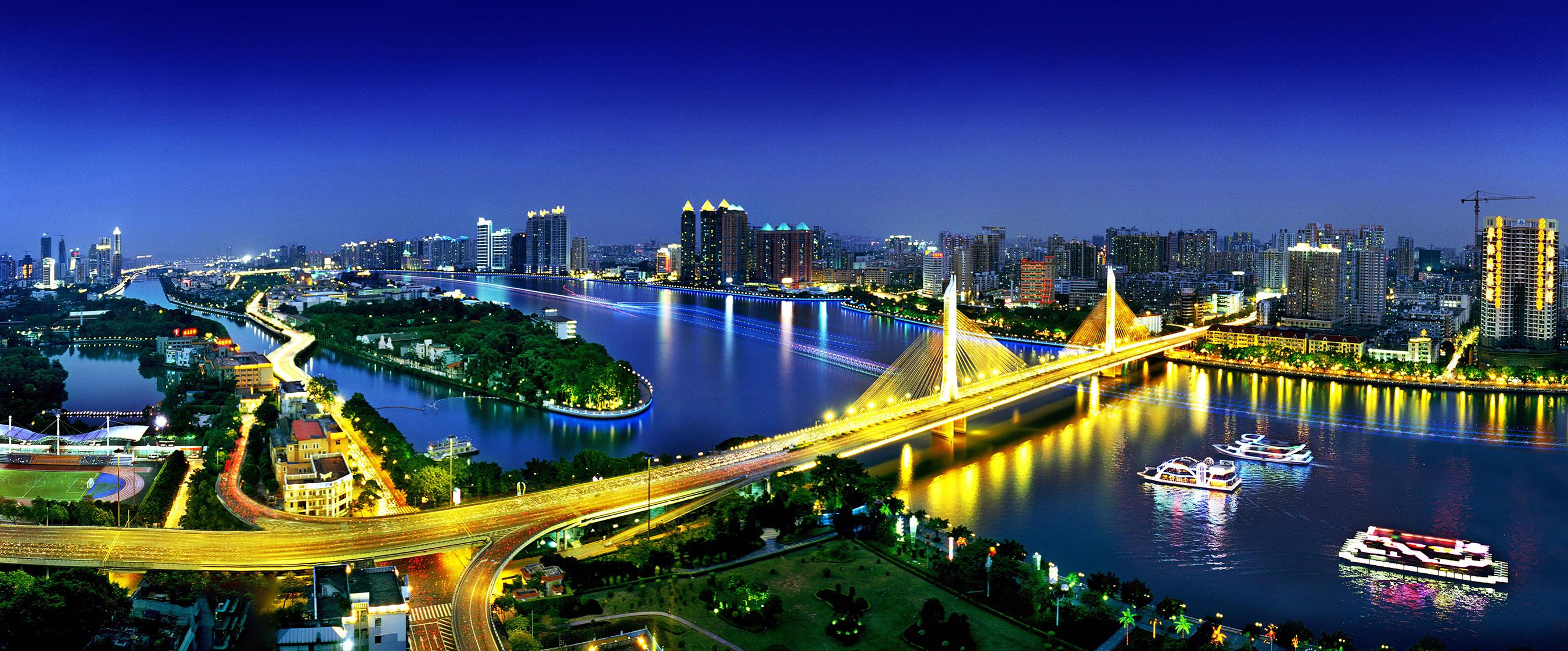 Night view of Guangzhou China.