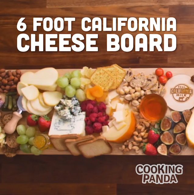 Upgrade the go-to cheese plate and create a 6-foot cheese board that serves as a beautiful centerpiece