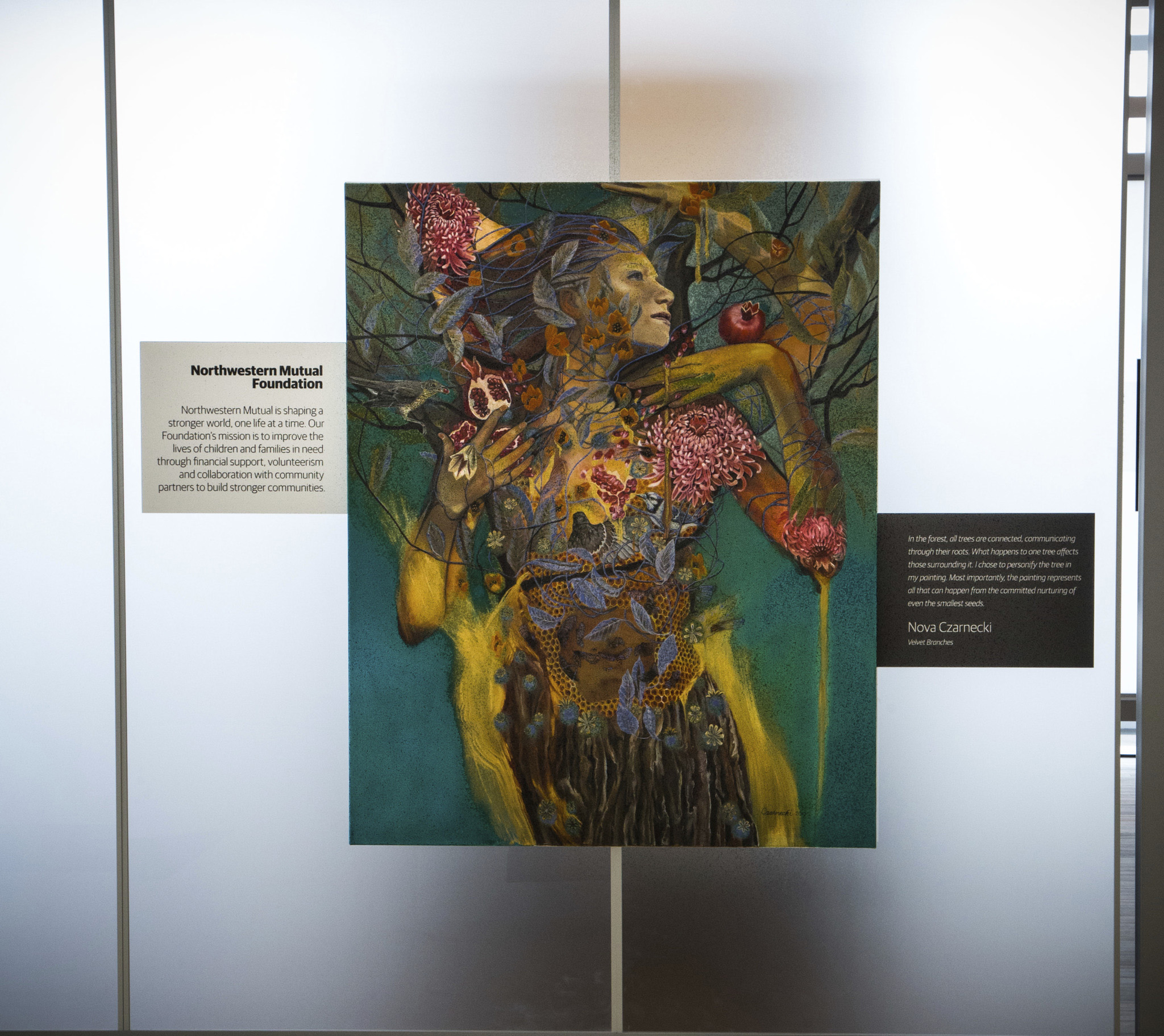 Nova Czarnecki chose to represent the Northwestern Mutual Foundation symbolically through nature imagery, showcasing the connections between the Foundation, its partners and the deep roots these organizations have in the community.