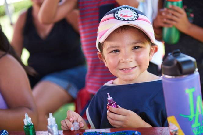 Kids take part in activities at Campout on the Field, an event for families affected by childhood cancer co-hosted by Northwestern Mutual, the Rose Bowl Stadium and Rose Bowl Legacy Foundation.