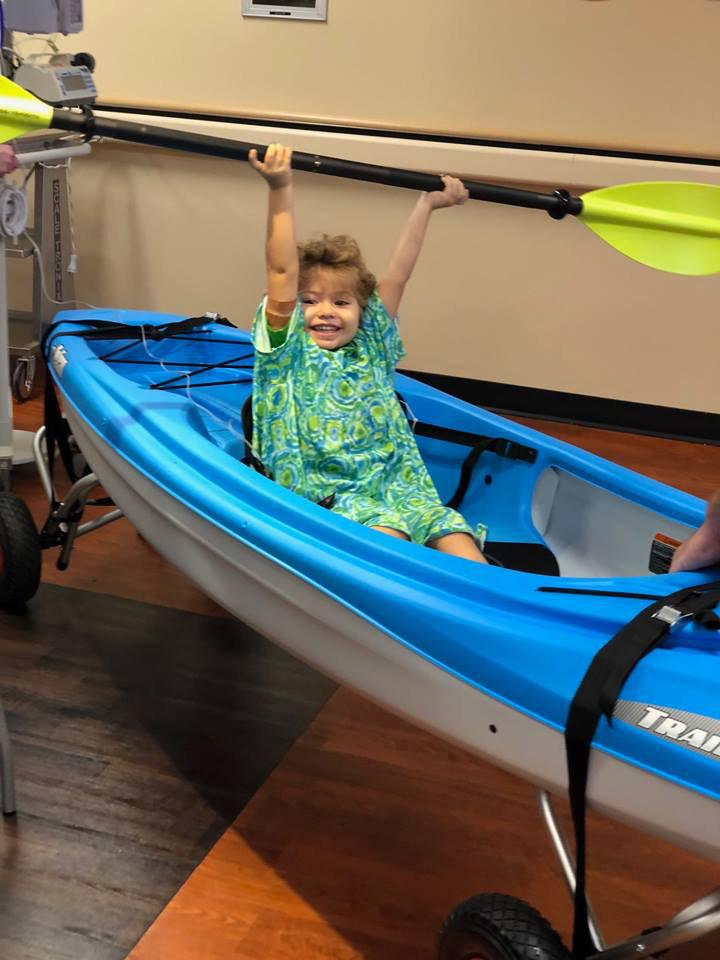 Patient turns hallway into kayak adventure