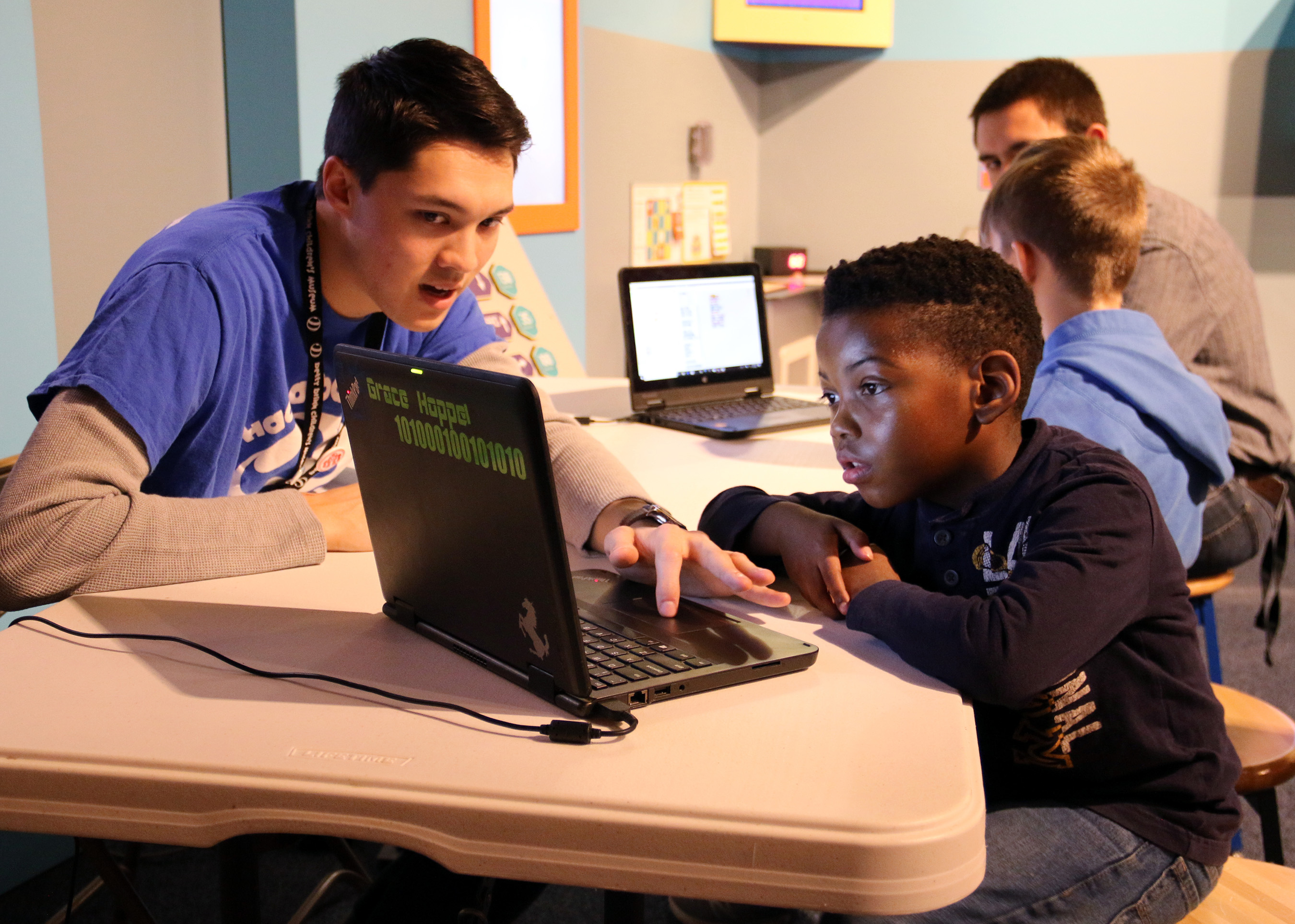 Betty Brinn Children's Museum's Be a Maker space offered hands-on coding activities focused on data collection and visualization, computer science terminology, quick puzzles and games.