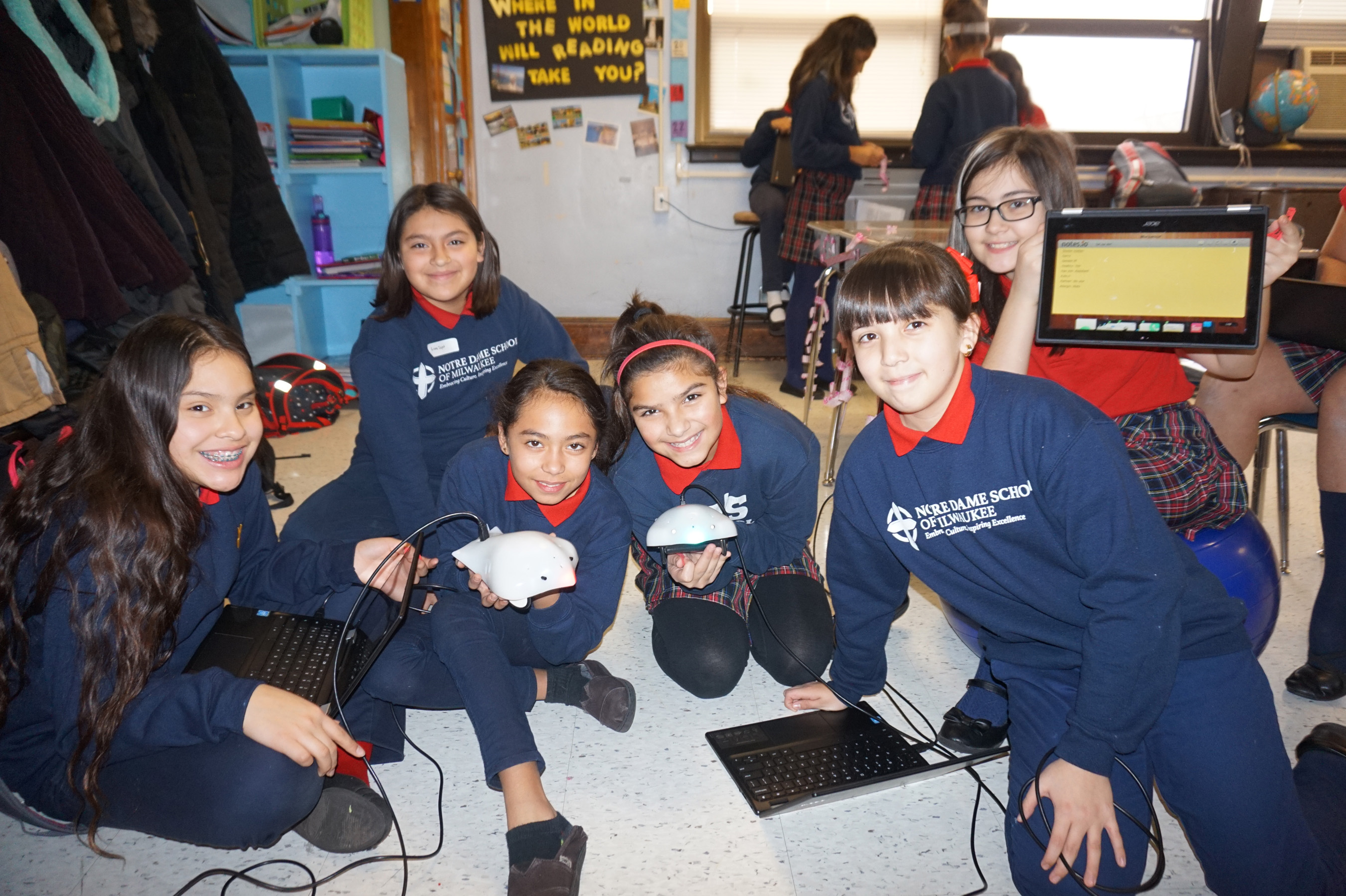 Students from Notre Dame School of Milwaukee worked in teams to code and program Finch Robots to go through self-created mazes.