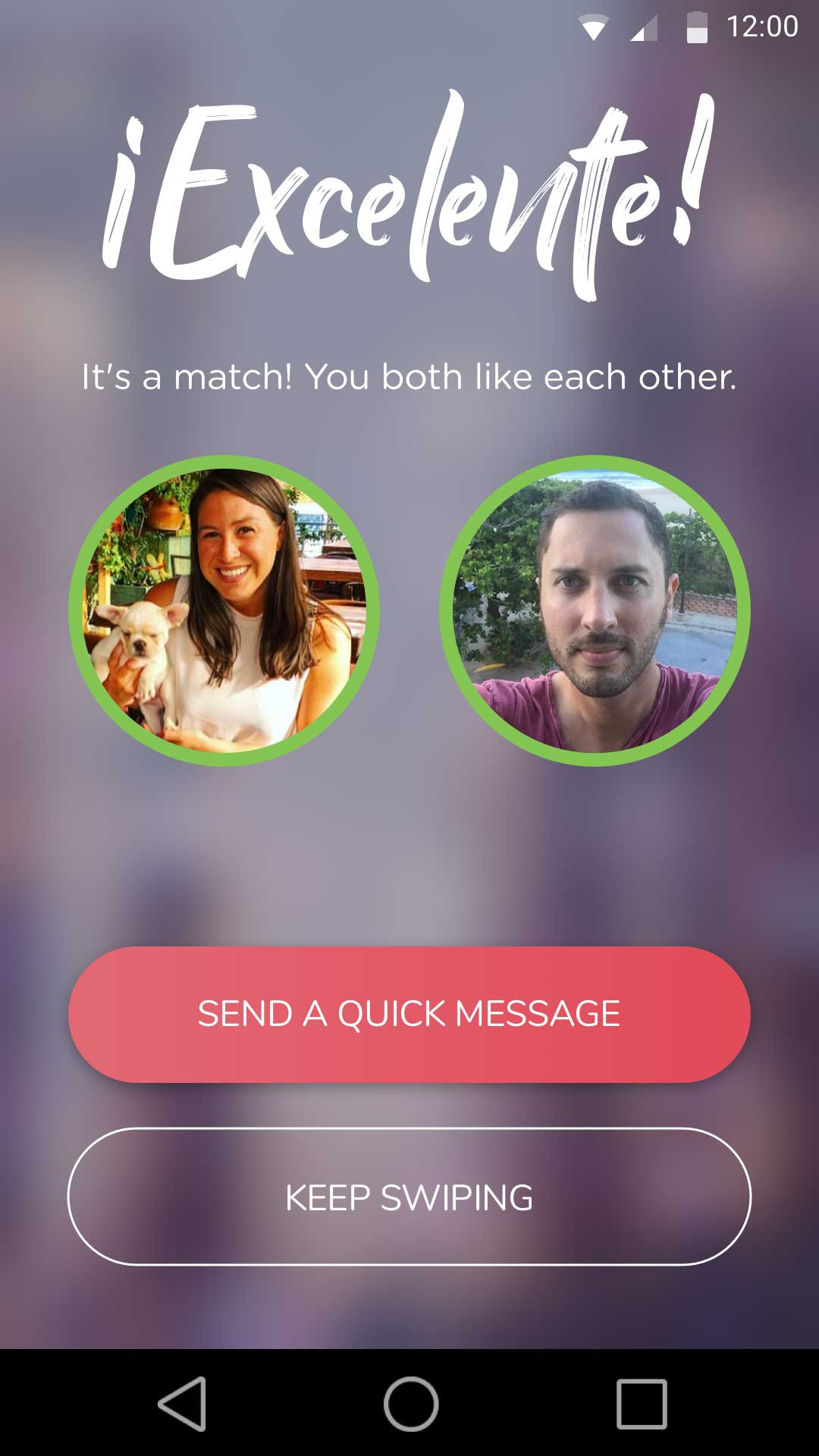 Chispa's Interface When Users Match