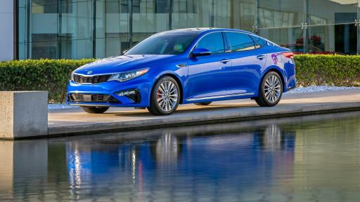 Side view blue 2019 Kia Optima