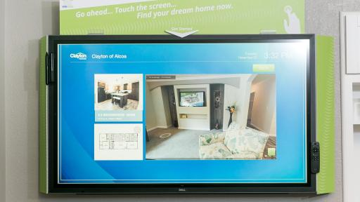 Clayon Homes touchscreen application on a tablet.