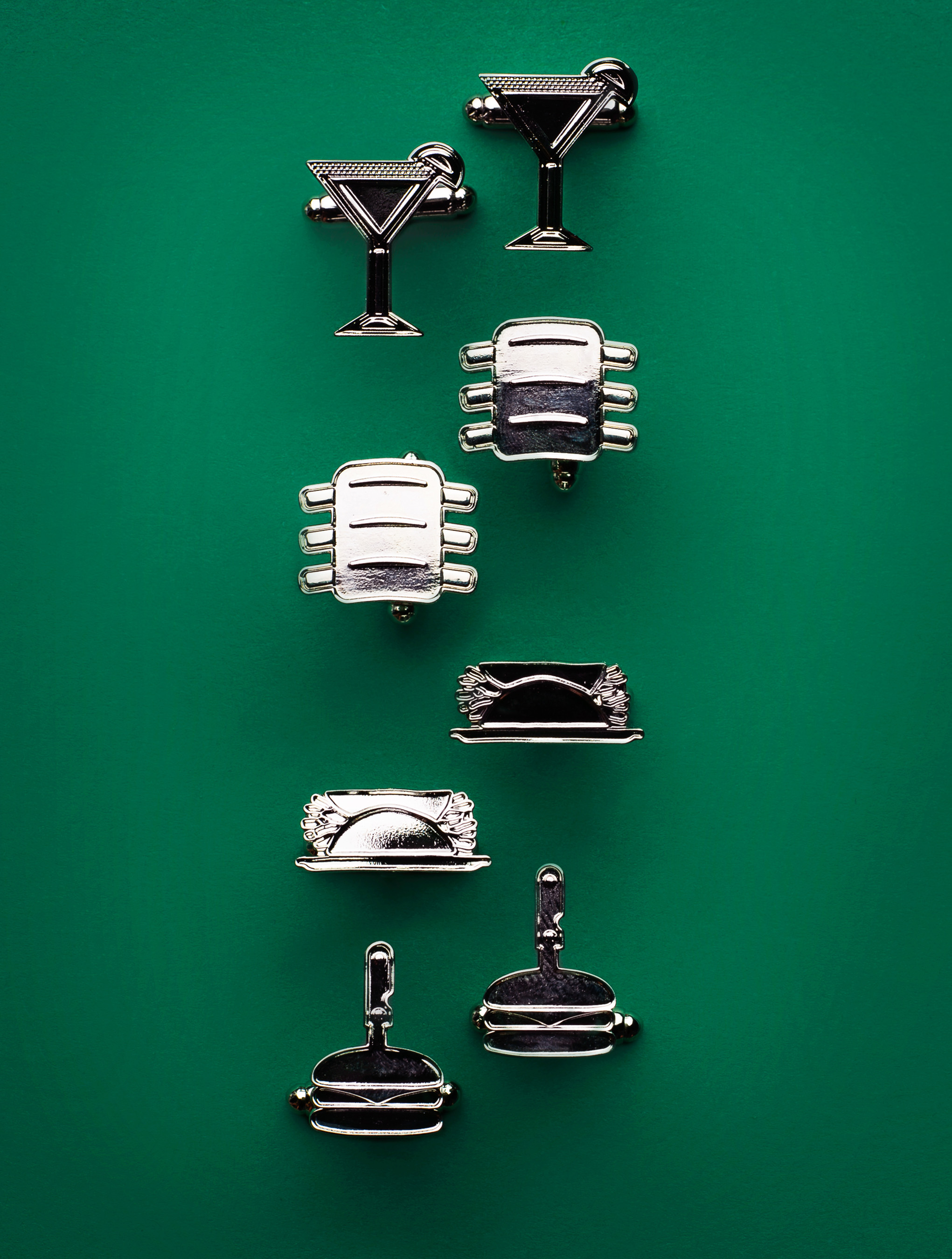 Add that extra je ne sais quoi to your debonair style with these burger, rib, fajita or margarita cufflink sets that will make any suit or tux more deluxe.
