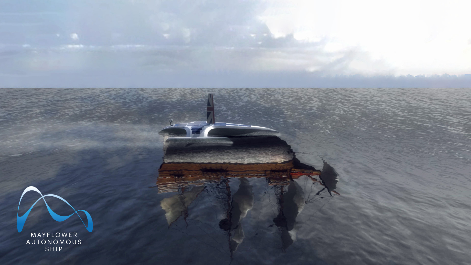 CGI visualization of the Mayflower Autonomous Ship at sea with a reflection of the original Mayflower, inspiration for the project.  Credits: University of Birmingham's Human Interface Technologies Team (HIT)