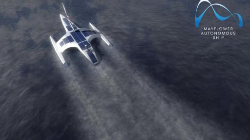 CGI Visualisation of the Mayflower Autonomous Ship cruising at sea, completely unmanned.