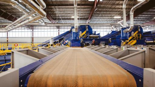 Large conveyor belt used to sort recyclable materials