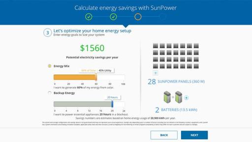 Solar-plus-storage calculator suggests the number of solar panels and batteries needed to reach a homeowner's electric bill savings, energy mix, or backup power goals based on monthly electricity use.