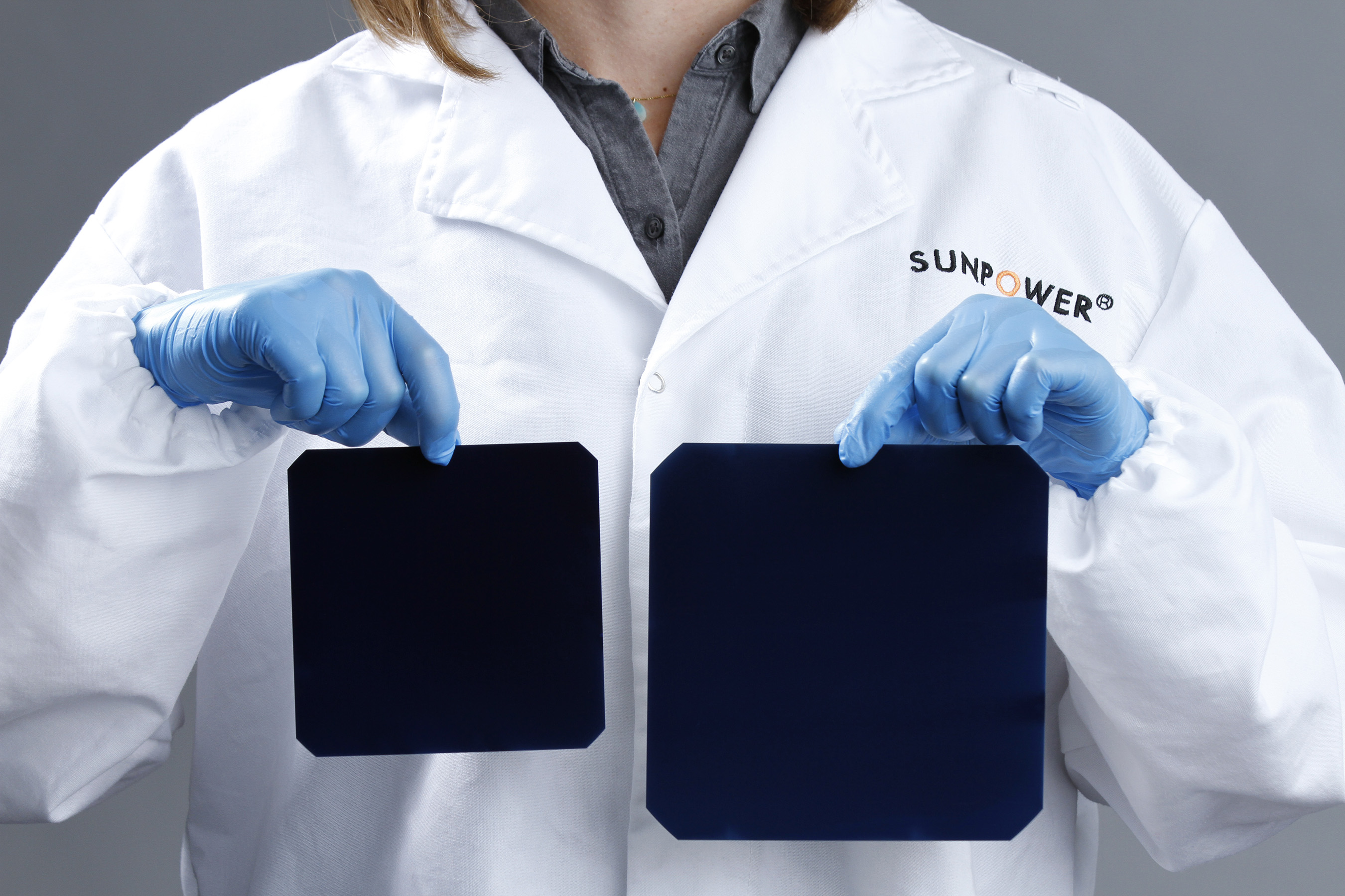 A-Series is built with SunPower's fifth-generation Maxeon solar cells (right), which were perfected at the company's Silicon Valley Research Facility and are 65 percent larger than previous generations.