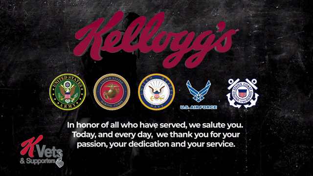 In recognition of Veterans Day, the company released a video tribute to celebrate its veterans - thanking them for their service, their sacrifice, and the endless contributions they make to Kellogg.