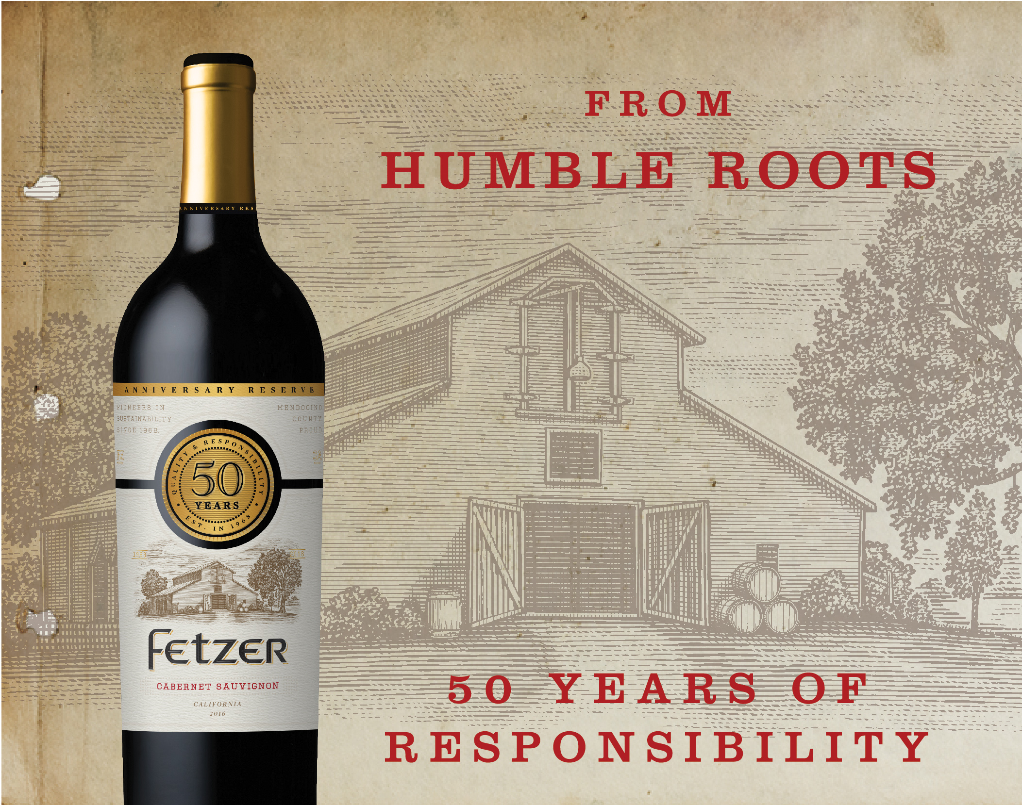 Fetzer's 50th Anniversary Cabernet Sauvignon can be found nationwide (SRP: $12.99)
