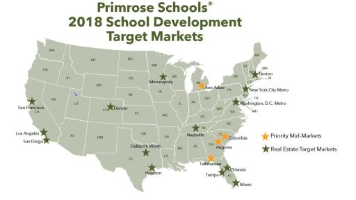 A  map of the target markets for Primrose Schools 2018 School Development
