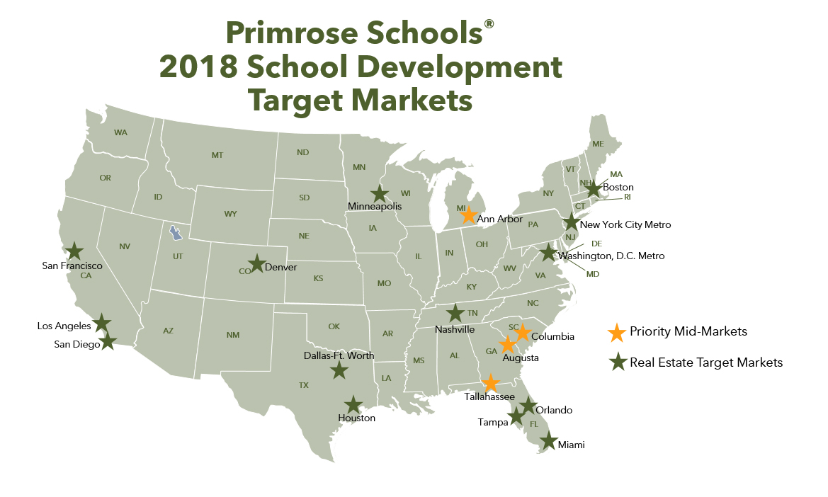 Primrose Schools has identified 14 target markets and four priority mid-sized markets for growth through 2020. The company is actively looking for sites and owners in each market.