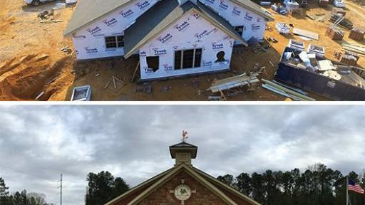 A before and after shot of the construction of the Primrose Shool