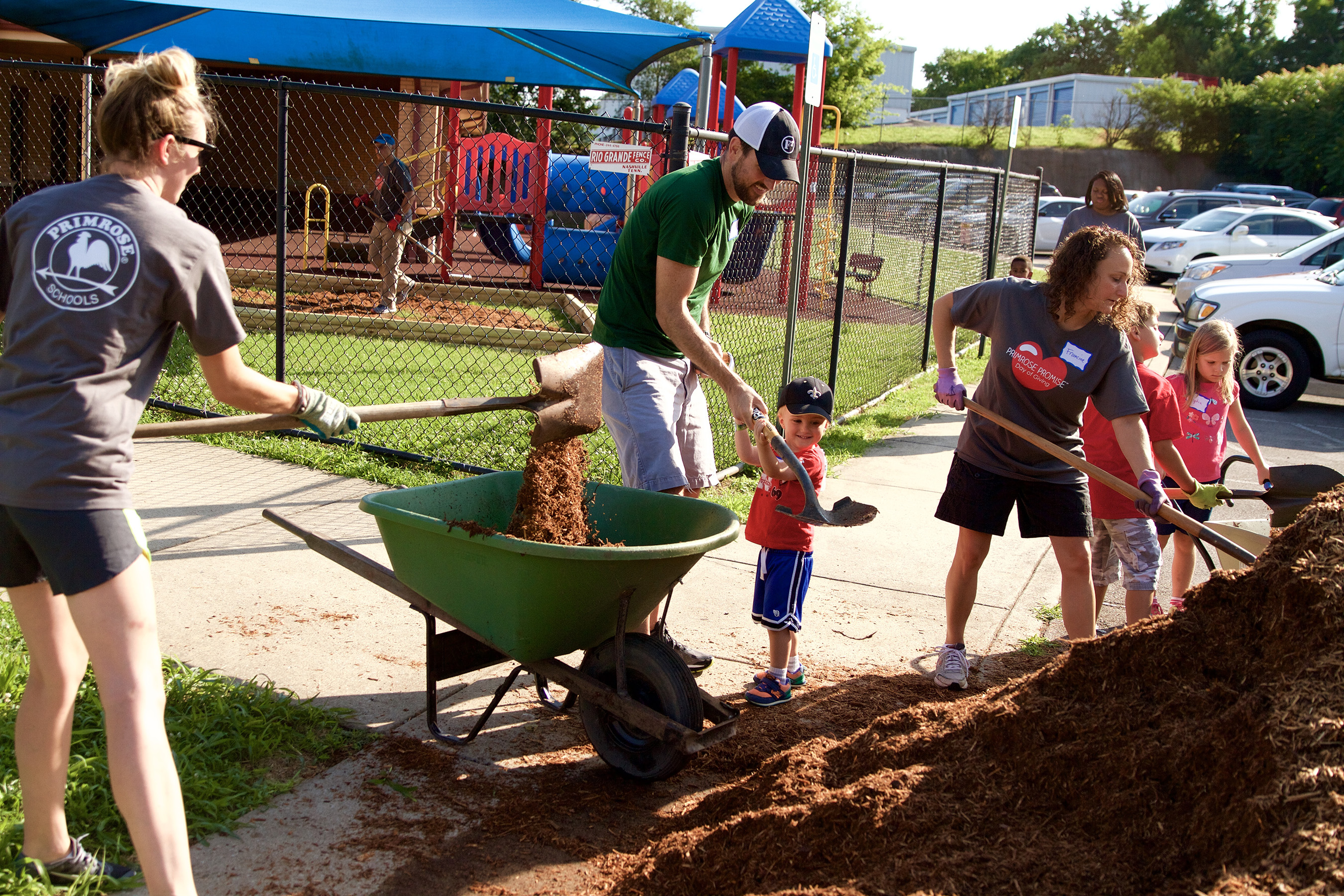 Teachers, staff, children and families from Primrose School of Brentwood (Brentwood, Tenn.) practice environmental responsibility by participating in community beautification efforts.