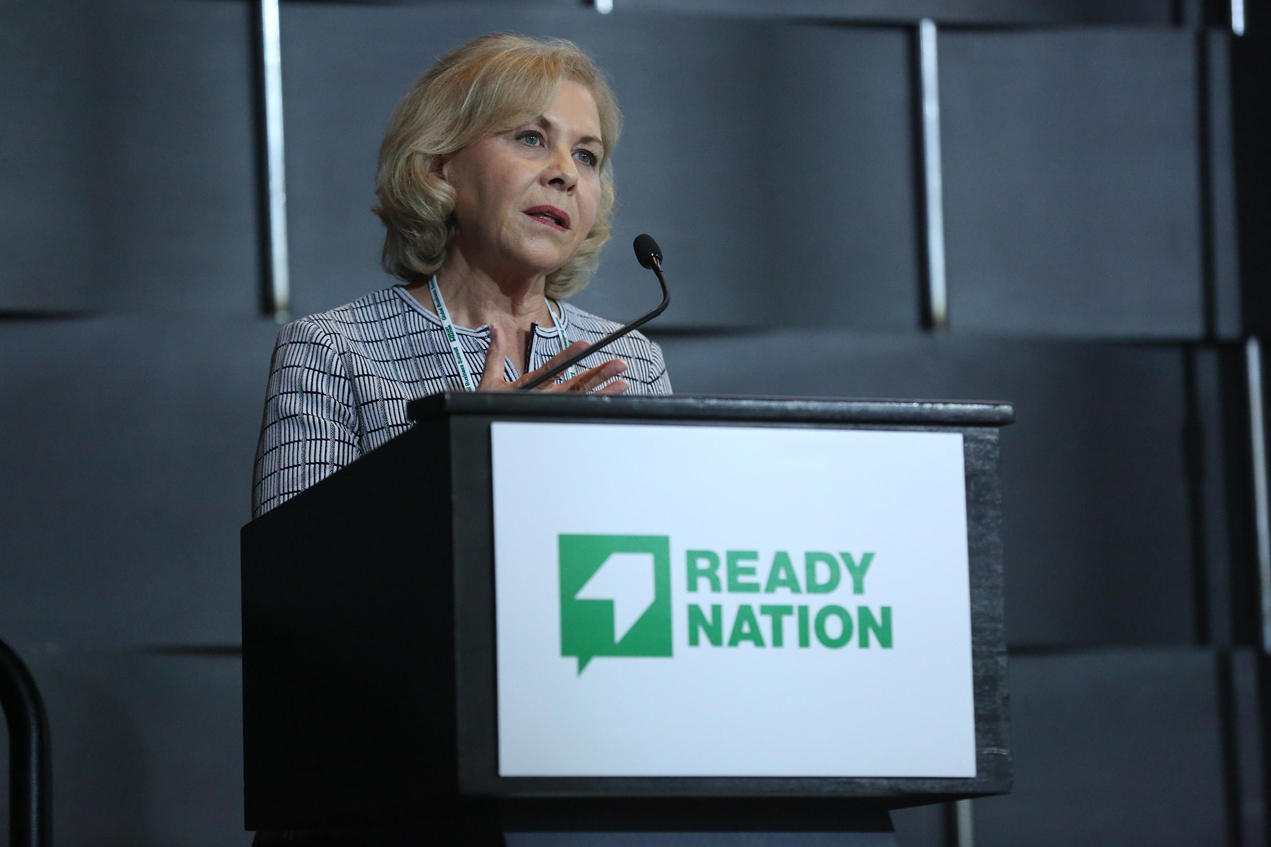 Primrose CEO Jo Kirchner addresses the importance of social entrepreneurship and innovation at the 2018 ReadyNation Global Business Summit.