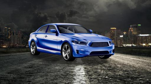 A sporty blue car in front of a cityscape at nighttime.