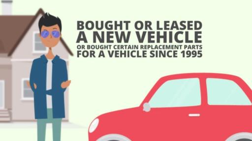 "A cartoon of a man standing in front of his car with the words, ""Bought or leased a new vehicle or bought certain replacement parts for a vehicle since 1995"" above the car."