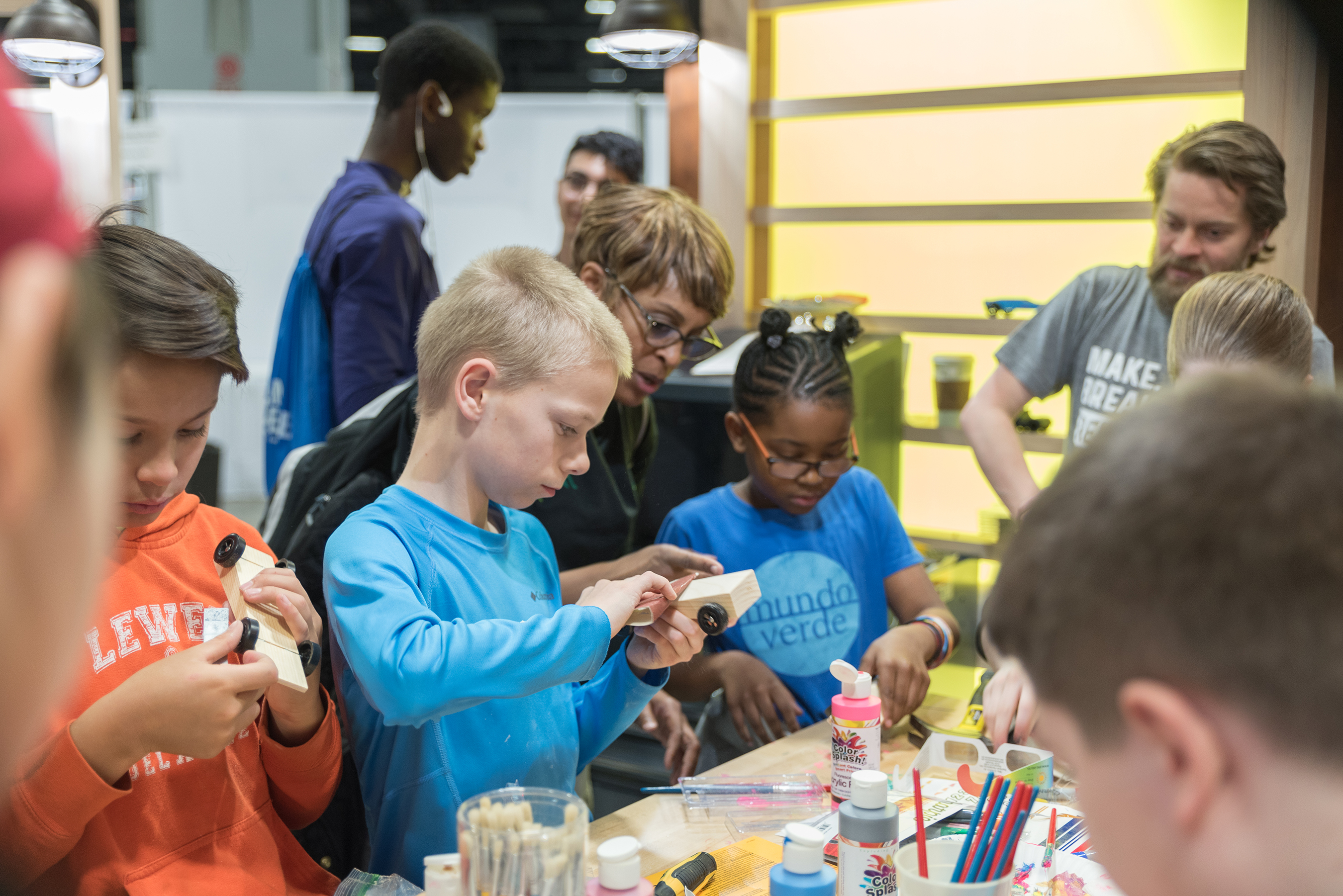 "Young students experience the ""maker sprit"" with hands-on activities."