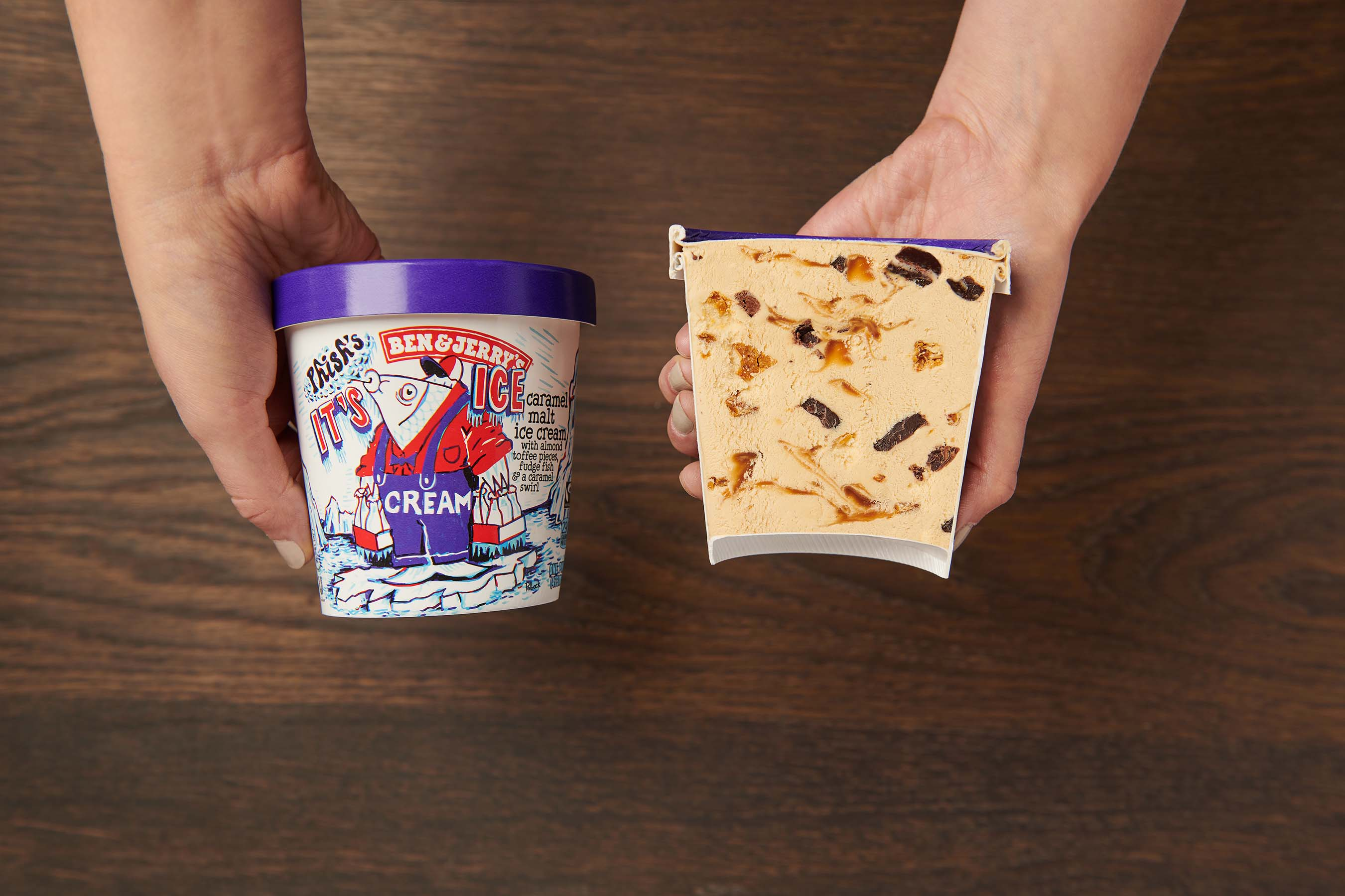 It's Ice…Cream features a caramel malt ice cream with almond toffee pieces, fudge fish and a caramel swirl.